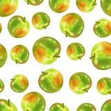 Pomme verte d'aquarelle d'isolement sur le fond blanc, modèle sans couture, texture décorative, élément tiré par la main de nourr illustration de vecteur