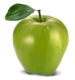 Pomme verte fraîche avec la feuille Photos stock