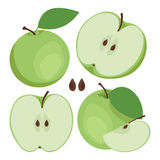 Pomme verte La collection de la pomme verte entière et coupée en tranches porte des fruits Photos libres de droits