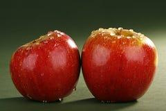 Pommes avec des gouttes de pluie Images libres de droits