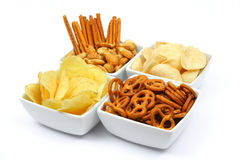 Pommes chips et casse-croûte Photo stock