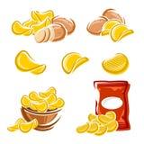 Pommes chips réglées Vecteur Images stock
