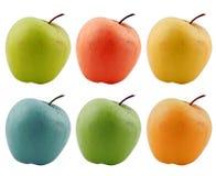 Pommes colorées d'isolement sur le blanc photo stock