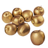 Pommes d'or sur le fond blanc d'isolement photo stock
