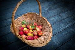 Pommes dans le panier en osier image stock