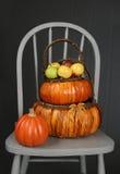 Pommes dans le thème de panier, d'automne ou de thanksgiving Images stock