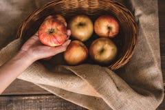 Pommes dans un panier en osier photo libre de droits