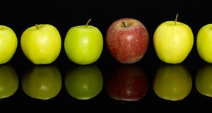 Pommes dans une rangée Photo libre de droits