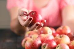 Pommes de prise de femme sur le fond en bois Images stock