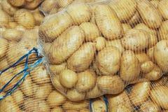 Pommes de terre blanches dans des sacs de maille. Photo libre de droits