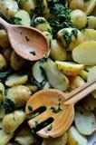 Pommes de terre cuites au four avec l'ail et les épinards Image libre de droits