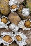 Pommes de terre dans le clinquant images stock