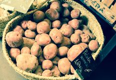 Pommes de terre dans le panier en osier Photographie stock libre de droits