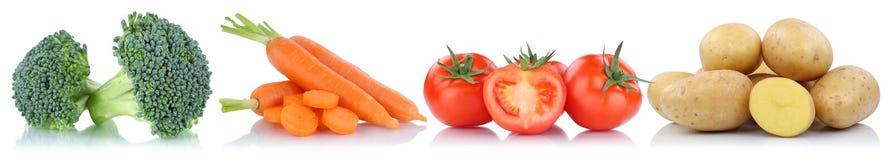 Pommes de terre de carottes de tomates de légumes dans une rangée d'isolement Photo stock