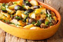 Pommes de terre frites avec les champignons de boletus, le fromage de cheddar et les herbes photo libre de droits
