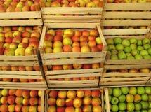 Pommes en vendant des caisses sur le marché Photographie stock libre de droits
