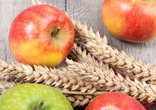 Pommes et épis de blé placés sur une table Photos stock