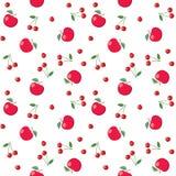 Pommes et cerises rouges sur le fond blanc - modèle sans couture de vecteur illustration de vecteur