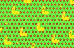Pommes et fond rouges de vers Photos libres de droits