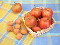 Pommes et noix Photos libres de droits