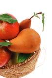 Pommes et poire fraîches rouges et vertes d'or Images stock