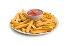 Pommes-Frites auf Platte mit Ketschup Lizenzfreie Stockfotos