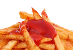 Pommes frites avec la sauce tomate Image stock
