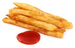 Pommes frites avec la sauce tomate Image libre de droits