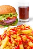 Pommes-Frites, Cheeseburger, Kolabaum stockfotografie