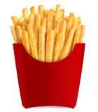 Pommes frites dans le cadre rouge populaire Photo stock