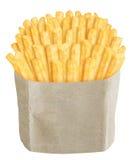 Pommes frites dans le sac de papier brun Photographie stock