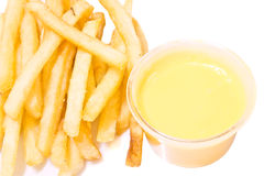 Pommes frites et fromage Images stock