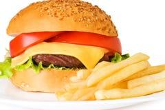 Pommes frites et hamburger Image libre de droits