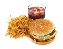 Pommes frites, hamburger et kola image libre de droits