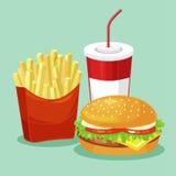 Pommes-Frites, Hamburger und Soda Takeaway Lizenzfreie Stockfotos