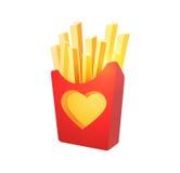 Pommes frites i röd lådaask Royaltyfria Foton