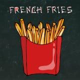 Pommes-Frites im Papierkasten Fried Potato Fast Food in einem roten Paket Realistische Hand gezeichnete Gekritzel-Art-Skizze Vekt Stockbild