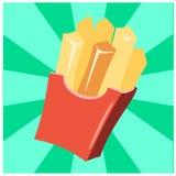 Pommes-Frites im roten Papierkasten mit grünem Hintergrund vektor abbildung