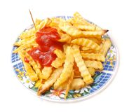 Pommes frites with ketch up Stock Photos
