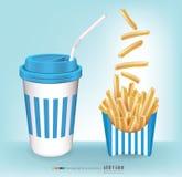 Pommes frites med ett exponeringsglas av vatten vektor Royaltyfri Bild