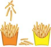 Pommes frites med ett exponeringsglas av vatten vektor Royaltyfria Bilder