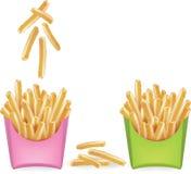 Pommes frites med ett exponeringsglas av vatten vektor Arkivfoton