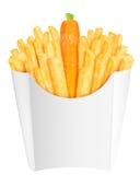 Pommes frites med moroten i förpacka Royaltyfri Foto