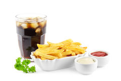 Pommes frites och sodavatten arkivbilder