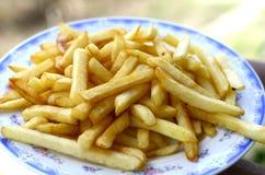 Pommes frites på plattan. Royaltyfri Foto
