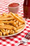 Pommes frites på plattan med ketchup Fotografering för Bildbyråer