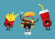 Pommes frites riantes drôles et caractère de boisson non alcoolisée Images stock
