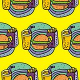 Pommes frites, sodavatten och cheeseburger stock illustrationer