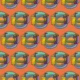 Pommes frites, sodavatten och cheeseburger vektor illustrationer