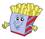 Pommes frites vector illustration. Pommes frites in box with smiling face - vector illustration Royalty Free Stock Photography